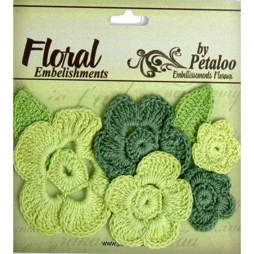 Petaloo - Devon Collection - Crocheted Flowers - Greens