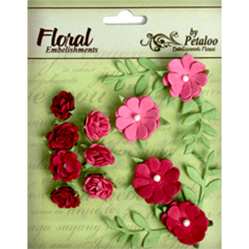 Petaloo - Devon Collection - Petites Mini Rose Clusters - Fuchsia