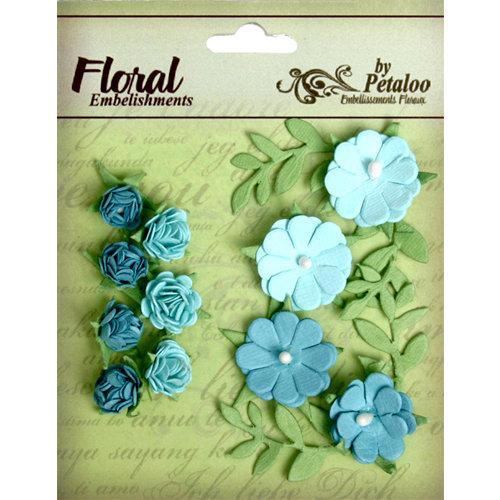 Petaloo - Devon Collection - Petites Mini Rose Clusters - Blue