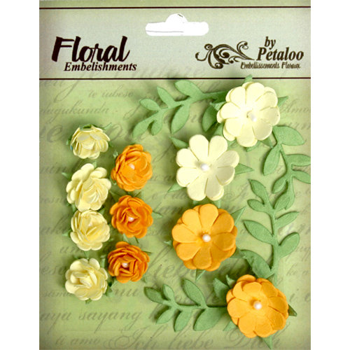 Petaloo - Devon Collection - Petites Mini Rose Clusters - Yellow and Gold