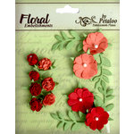 Petaloo - Devon Collection - Petites Mini Rose Clusters - Salmon and Sienna