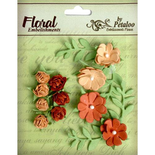 Petaloo - Devon Collection - Petites Mini Rose Clusters - Tan and Brown