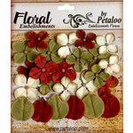 Petaloo - Darjeeling Collection - Floral Embellishments - Hydrangea - Burgundy Cream and Green