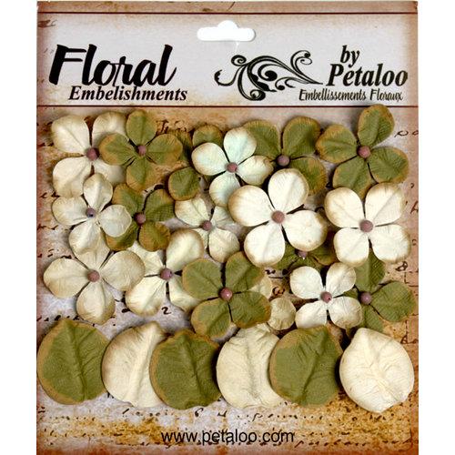 Petaloo - Darjeeling Collection - Floral Embellishments - Hydrangea - Cream and Green
