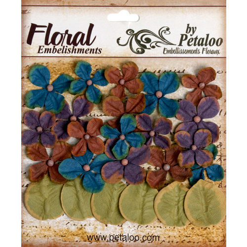 Petaloo - Darjeeling Collection - Floral Embellishments - Hydrangea - Blue Eggplant and Brown