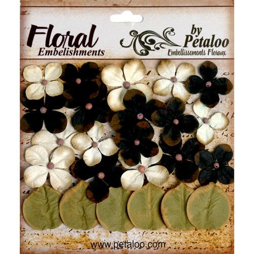 Petaloo - Darjeeling Collection - Floral Embellishments - Hydrangea - Black and Cream
