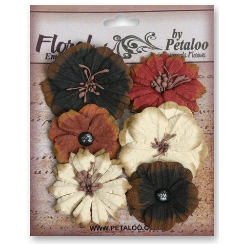 Petaloo - Darjeeling Collection - Floral Embellishments - Medium - Black Cream and Brown