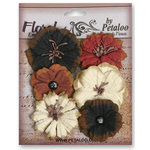 Petaloo - Darjeeling Collection - Floral Embellishments - Medium - Black Cream and Brown