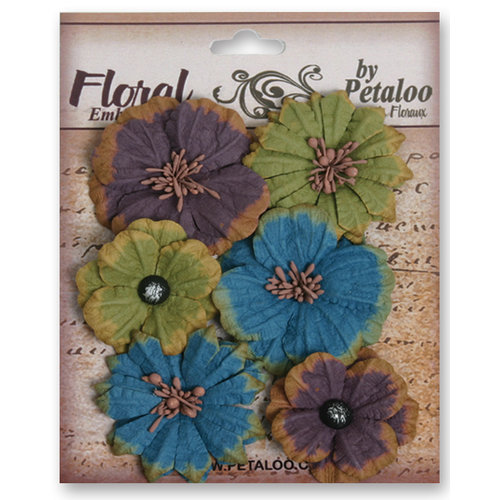 Petaloo - Darjeeling Collection - Floral Embellishments - Medium - Blue Eggplant and Green