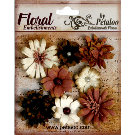 Petaloo - Darjeeling Collection - Floral Embellishments - Mini - Black Cream and Brown
