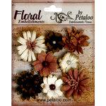 Petaloo - Darjeeling Collection - Floral Embellishments - Mini - Black Cream and Brown