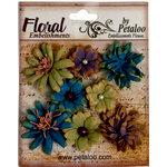 Petaloo - Darjeeling Collection - Floral Embellishments - Mini - Blue Eggplant and Green