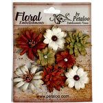 Petaloo - Darjeeling Collection - Floral Embellishments - Mini - Burgundy Cream and Green