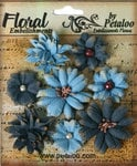 Petaloo - Darjeeling Collection - Floral Embellishments - Mini - Teastained Blues