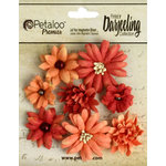 Petaloo - Printed Darjeeling Collection - Floral Embellishments - Mini Mix - Teastained Spice