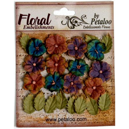 Petaloo - Darjeeling Collection - Floral Embellishments - Petites - Blue Eggplant and Brown