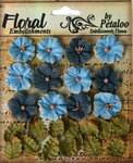 Petaloo - Darjeeling Collection - Floral Embellishments - Petites - Teastained Blues