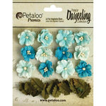 Petaloo - Printed Darjeeling Collection - Floral Embellishments - Petites - Teastained Teals