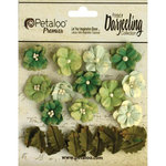 Petaloo - Printed Darjeeling Collection - Floral Embellishments - Petites - Teastained Greens