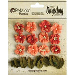 Petaloo - Printed Darjeeling Collection - Floral Embellishments - Petites - Teastained Spice