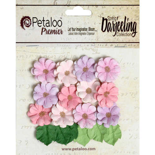 Petaloo - Darjeeling Collection - Floral Embellishments - Mini Daisies with Leaves - Hyacinth