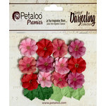 Petaloo - Darjeeling Collection - Floral Embellishments - Mini Daisies with Leaves - Red Raspberry