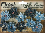 Petaloo - Darjeeling Collection - Floral Embellishments - Dahlias - Teastained Blues