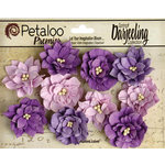 Petaloo - Darjeeling Collection - Floral Embellishments - Dahlias - Teastained Purples