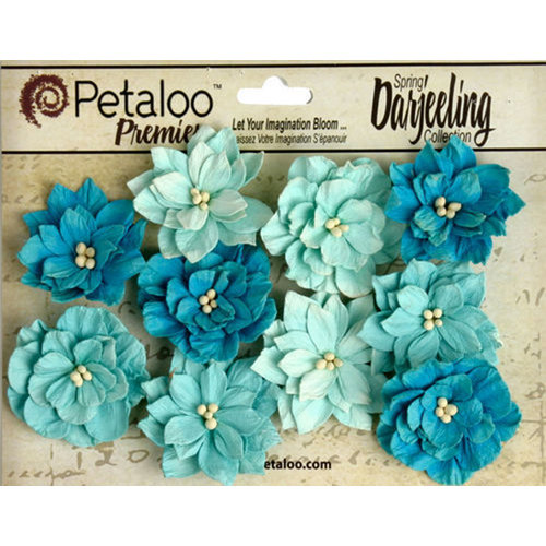 Petaloo - Printed Darjeeling Collection - Floral Embellishments - Dahlias - Teastained Teals