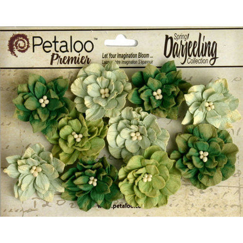 Petaloo - Printed Darjeeling Collection - Floral Embellishments - Dahlias - Teastained Greens