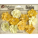 Petaloo - Printed Darjeeling Collection - Floral Embellishments - Dahlias - Teastained Yellow