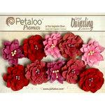 Petaloo - Darjeeling Collection - Floral Embellishments - Dahlias - Red Raspberry