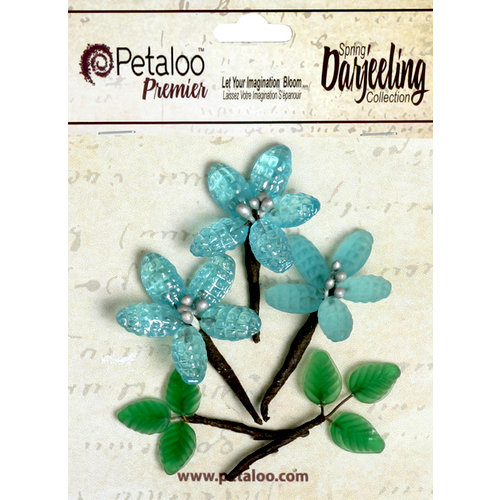 Petaloo - Darjeeling Collection - Glass Flower with Leaves - Aqua