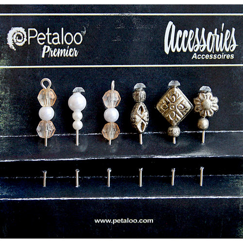 Petaloo - Darjeeling Collection - Beaded Hat Pins - Brown