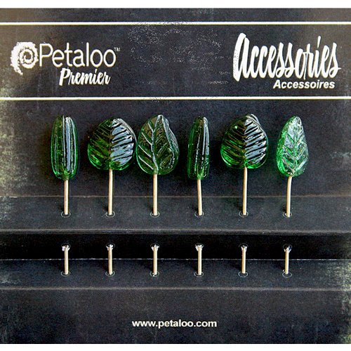 Petaloo - Darjeeling Collection - Glass Ornament Pins - Green