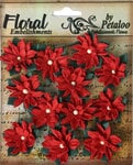 Petaloo - Darjeeling Collection - Floral Embellishments - Mini - Poinsettias - Red