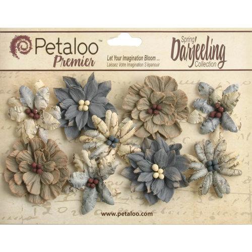 Petaloo - Printed Darjeeling Collection - Floral Embellishments - Wild Blossoms - Medium - Soft Grey