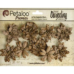 Petaloo - Printed Darjeeling Collection - Floral Embellishments - Wild Blossoms - Craft Brown