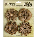 Petaloo - Printed Darjeeling Collection - Floral Embellishments - Wild Blossoms - 4 Pack - Craft Brown