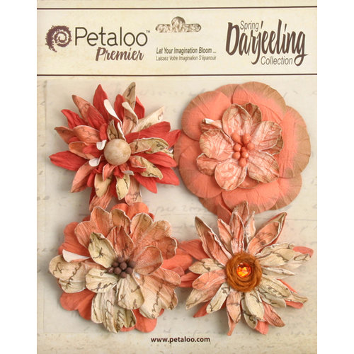 Petaloo - Printed Darjeeling Collection - Floral Embellishments - Wild Blossoms - Large - Paprika