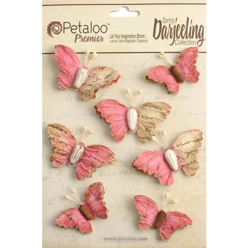 Petaloo - Printed Darjeeling Collection - Wild Butterflies - Fuchsia