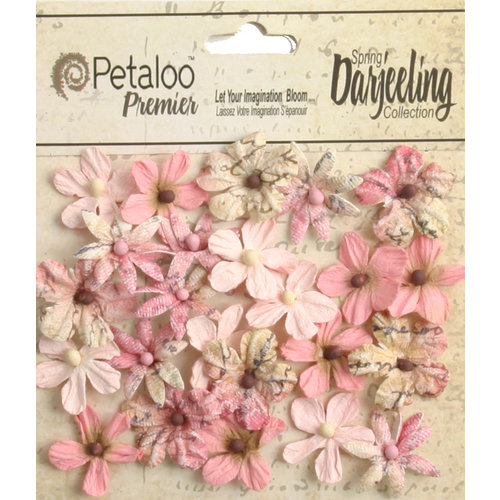 Petaloo - Printed Darjeeling Collection - Floral Embellishments - Mini - Pink