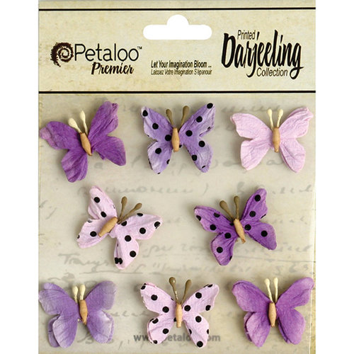 Petaloo - Printed Darjeeling Collection - Mini Butterflies - Teastained Purple