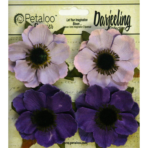Petaloo - Darjeeling Collection - Floral Embellishments - Anenome - Purple