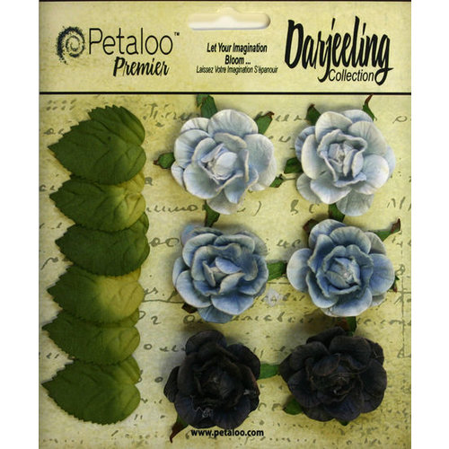 Petaloo - Darjeeling Collection - Floral Embellishments - Garden Rosette - Blue