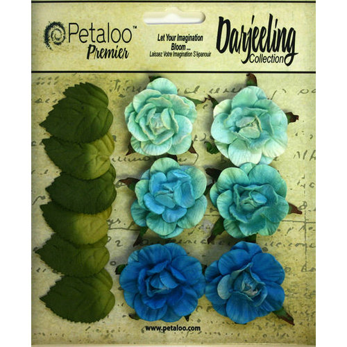 Petaloo - Darjeeling Collection - Floral Embellishments - Garden Rosette - Teal