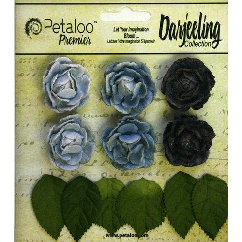 Petaloo - Darjeeling Collection - Floral Embellishments - Mini Garden Rosette - Blue