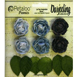 Petaloo - Darjeeling Collection - Floral Embellishments - Mini Garden Rosette - Blue