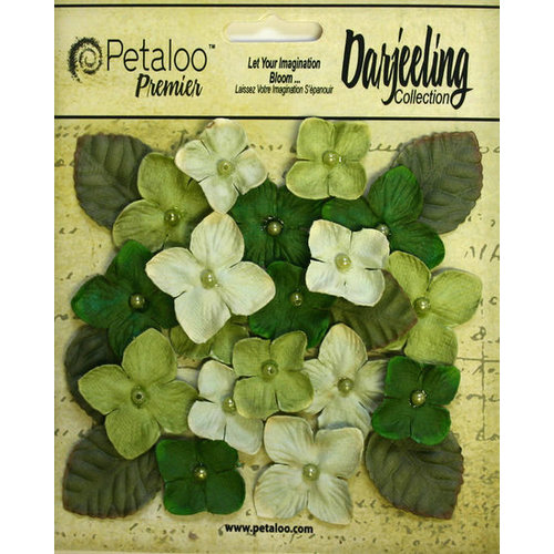 Petaloo - Darjeeling Collection - Floral Embellishments - Hydrangeas - Green