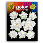 Petaloo - Color Me Crazy Collection - Mulberry Paper Flowers - Wild Roses - White, CLEARANCE
